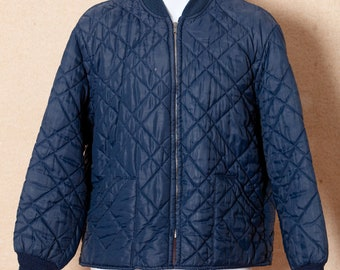 Vintage Quilted Jacket Dark Navy Blue