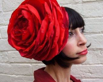 Custom order. Giant recycled vintage red satin rose flower headpiece wedding