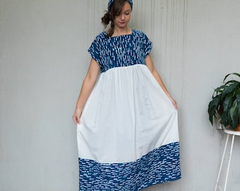 Loose dress with pockets.  White and blue block printed natural Indigo dyed cotton. Doll/muumuu/loose fit style.  Small-medium size.