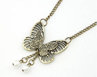 Antique Bronze Butterfly Necklace