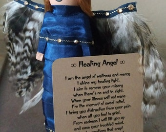 Marden: Guardian Angel,Figurine,Collectible,Gift,Small TreeTopper,Wooden Peg Doll,Feathers,Wings,OOAK,Handmade,Angel,Bereavement,Doll,Poem