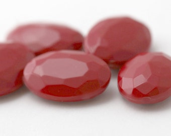 Vintage Lucite Stones Opaque Red Oval Gem 18x13mm (6)