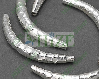HIZE SB469 Thai Karen Hill Tribe Silver Hammered Curve Tube Focal Beads 34mm (4)