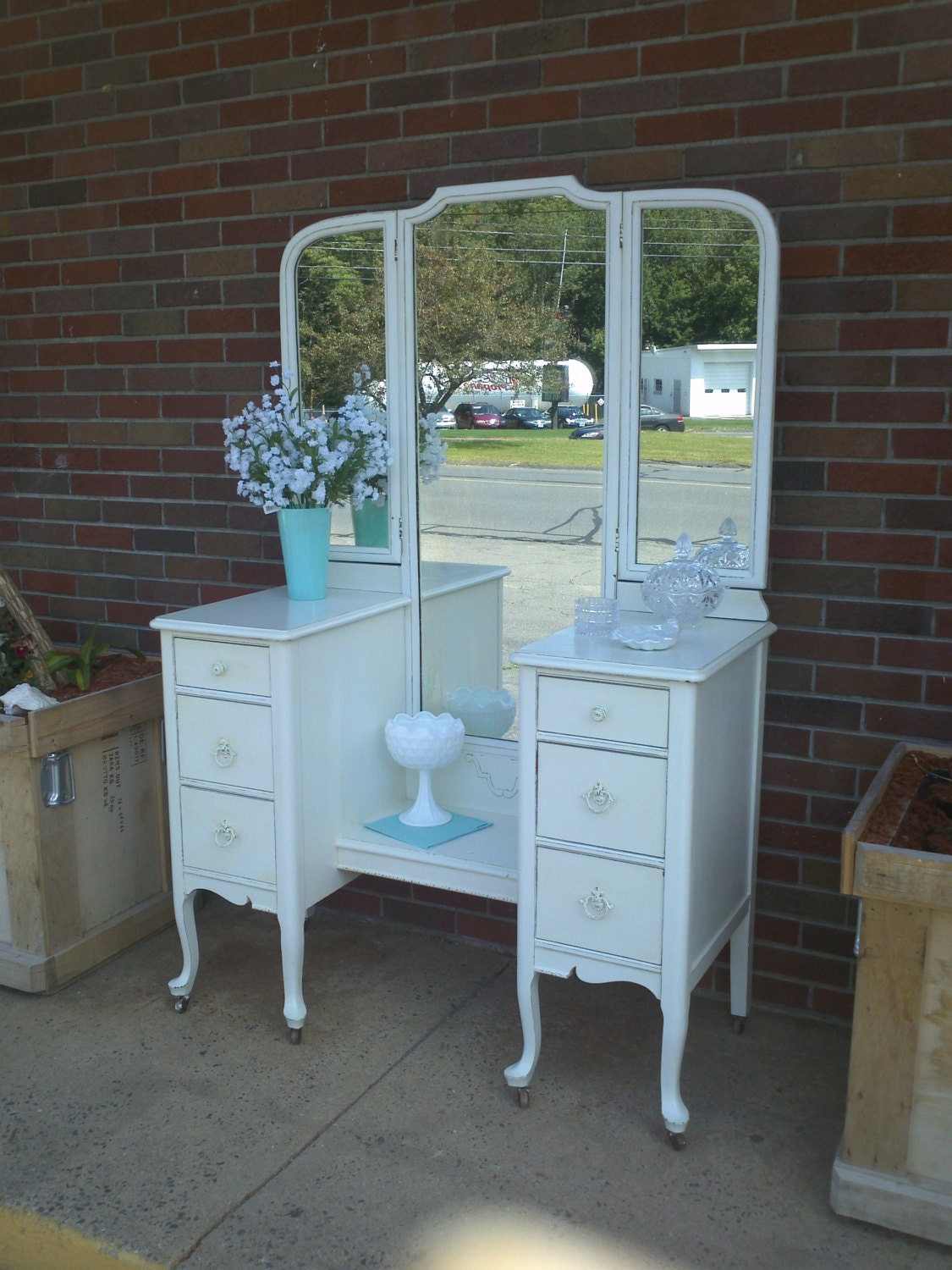 🔎zoom - Circa 20's Antique White Vanity Dressing Table Salvaged