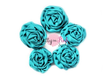 Turquoise MINI Isabella Collection Ruffled Rosettes- You Choose Quantity- Rolled Rosettes- Rolled Rosettes- Rosettes- Flower- Supply DIY