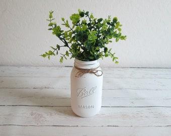 Mason Jar with Greenery - Painted Quart Mason Jar with Boxwood - Mason Jar Decor - Farmhouse Decor - Office Decor