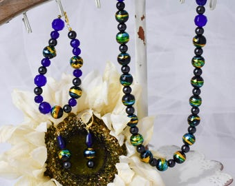 Colorfully Blue Beaded Necklace, Bracelet and Earrings