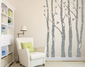 Tree Wall Decals // Birch Tree Decals // Living Room Decor // Bird Decals // Large Tree Decals //Tree Decor // Tree with Birds