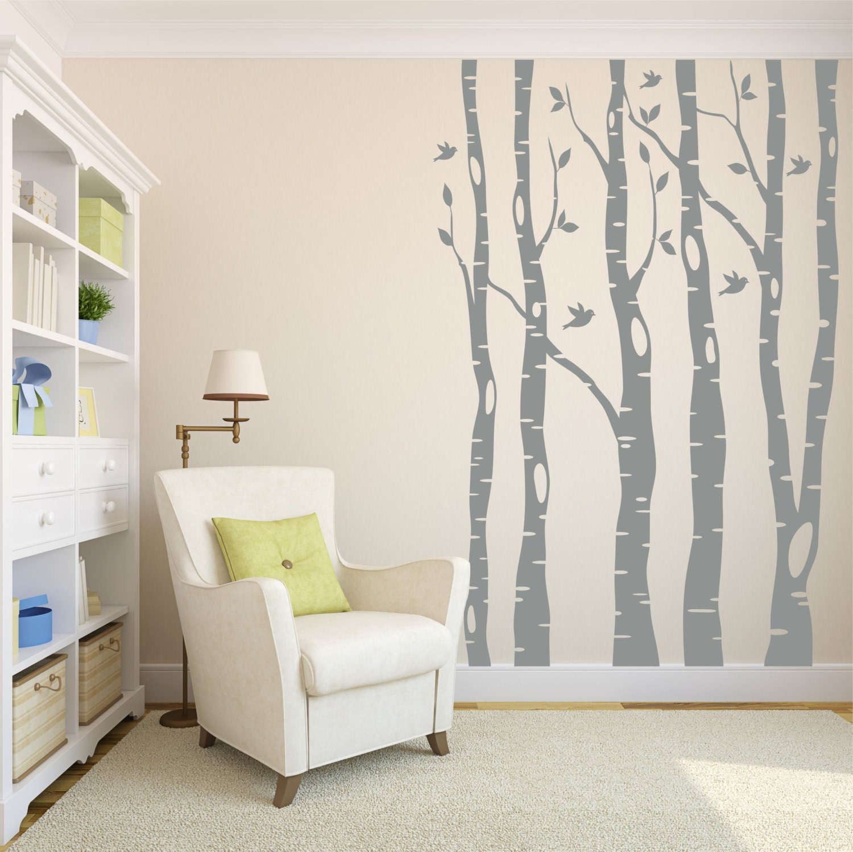 Tree Wall Decals // Birch Tree Decals // Living Room Decor //