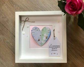 Best Friends Gift/ Couples gift/ Gifts for her/ Long Distance gifts/ Map Frame/ Heart Frame/ Wedding Gift