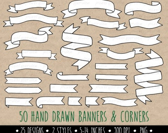 Hand Drawn Banners Clip Art. Doodle Ribbon Banners. White Banners Clipart. Black and White Digital Ribbons Clip Art. Vintage Banners Clipart