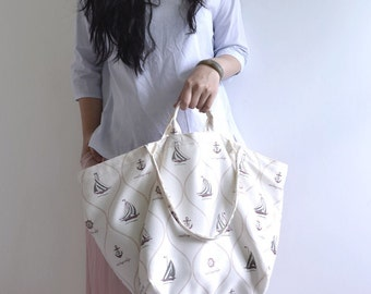 Simple large tote bag. summer beach style sailor print thin fabric market tote. Ready to ship