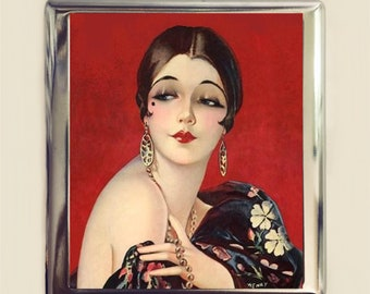 Flapper Cigarette Case Business Card ID Holder Wallet Art Deco 1920s Jazz Age Roaring 20s Red