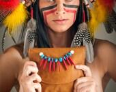 """Leather Messenger Bag, Woman Shoulter Bag, Leather Shoulder Bag, Messenger bag. """"Pocahontas"""""""