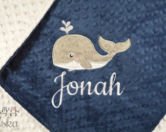 Personalized Baby Blanket, Minky Blanket, Personalized Name Blanket, Whale Blanket, Choose Your Colors, Choose Your Size