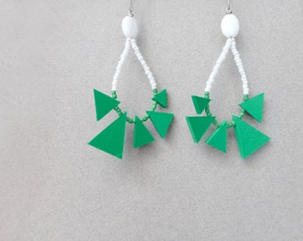 tribal geometric hoop earrings with green triangles and white beads , contemporary jewelry