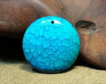 SALE #HonorSacrifice ~ NEW ~ Vivid Blue Porcelain Druzy Dragon Vein Agate Round Circle