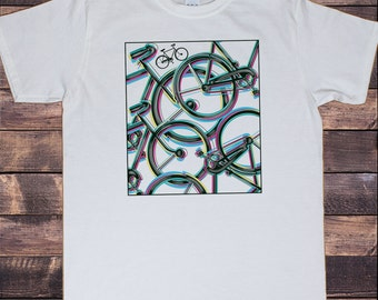 Men's White T-Shirt Graphical Bicycle Abstract Novelty Print 30-5