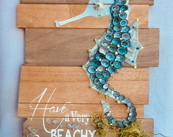 Amercian made Hand Made Coastal Seahorse Christmas Beach Sign