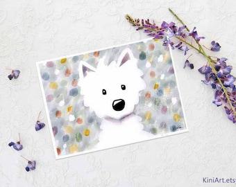 Westie Terrier Impressions Matted Art PRINT