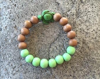Children's Turtle & Wood Bead Mala Bracelet, Yoga Bracelet, Kids Mala, Children's Yoga Bracelet Jewelry, Meditation, Mini Mala, Bohemian