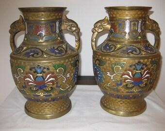 Antique Bronze Champleve  Vases Pair