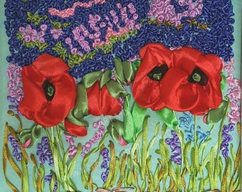 Poppies  // Satin Ribbon Embroidery // Framed // Glass cover // 25cm x 25cm