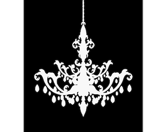 Chandelier - 11x14 Silhouette Print of Modern Chandelier - CHOOSE YOUR COLORS - Shown in Black, White, Gray and More