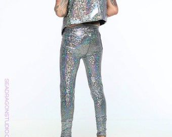Holographic Meggings | 13 Colors | Burning Man Costume, Mens Leggings, Mens Festival Clothes, Mens Tights, Leggings for Men