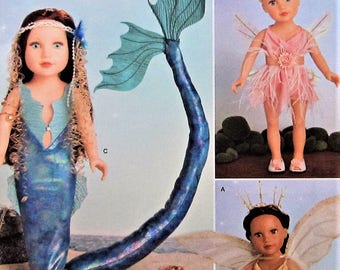 """18""""  Doll Clothes Sewing Pattern UNCUT Simplicity 8158 mermaid fairy pixie"""
