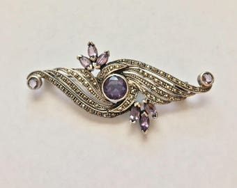Vintage Estate Sterling Silver Marcasite and Amethyst Pin