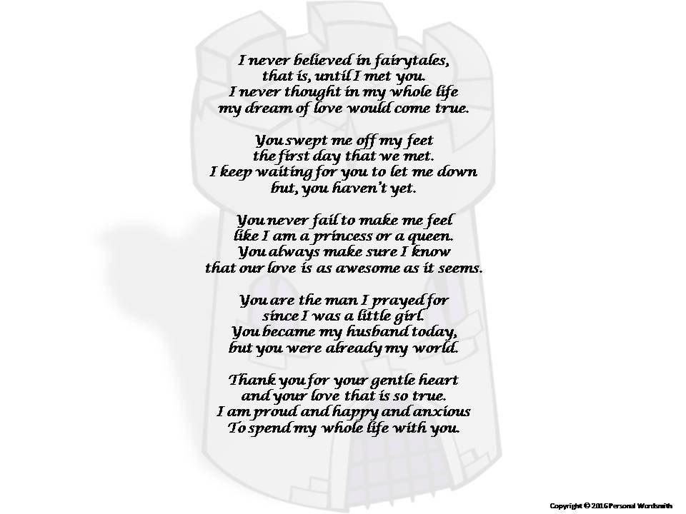 Poem From Bride To Groom Print Bride's Toast To The Groom