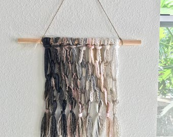 Tapestry Wall Hanging Woven Neutrals with Soft Pink Yarns