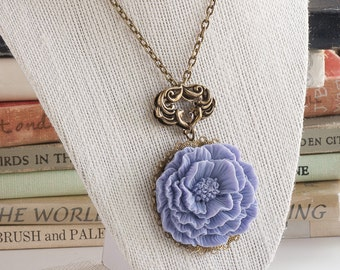 Rose Necklace, Lavender Rose Necklace, Purple Rose Necklace, Flower Pendant, Large Rose, Shabby Chic Style, Gift for Her