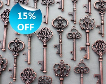150 Pcs Antiqued Copper Skeleton Keys bottle openers Mix Ship From United States