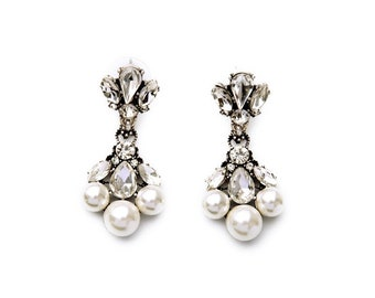 Pearl + Crystal Statement Bridal Earrings