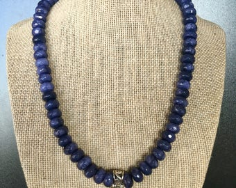 Adjustable sapphire beaded, sterling silver Purpurite pendant necklace, with Charolite beads, sterling silver clasp & extender chain.