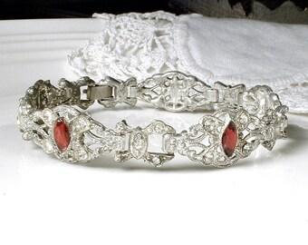 1920's Art Deco Red Rhinestone Bracelet, Pave Ruby Crystal Bridal Bracelet, Silver Paste Link Vintage Wedding Jewelry Great GATSBY 1930 20's