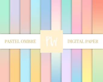 Pastel Ombre Digital paper - gradient Scrapbooking Instant Download
