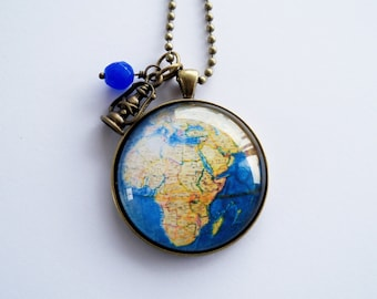 Large Globe Necklace - Map Pendant Necklace - Vintage Map Jewelry - Africa - Adoption Jewelry - Travel Necklace - Personalized
