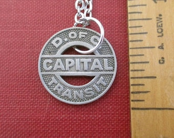 D.C. Capital Pendant Necklace - Repurposed Transit Token, 1950's District of Columbia Coin