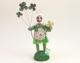 "READY TO SHIP Vintage Inspired Spun Cotton ""Miss Agatha"" St. Patty's Day Figure Ooak"