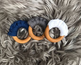Cotton Teether, Wood Ring