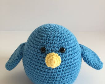 Crocheted BlueBird, Stuffed Woodland Creature, Amigurumi Bluebird, Bluebird