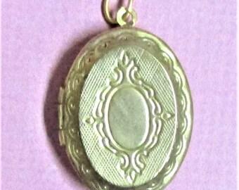 Locket Pendant Vintage Picture Locket Pendant Engraved Gold Tone Locket Vintage Jewelry Necklace  Pendant Two Sided Victorian Design