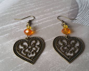 ornate heart earrings