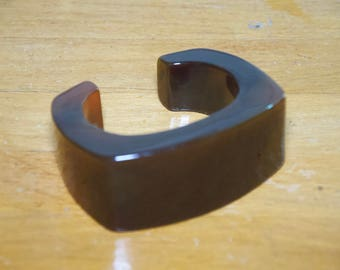 Bold Chunky Plastic Brown  Cuff Bracelet