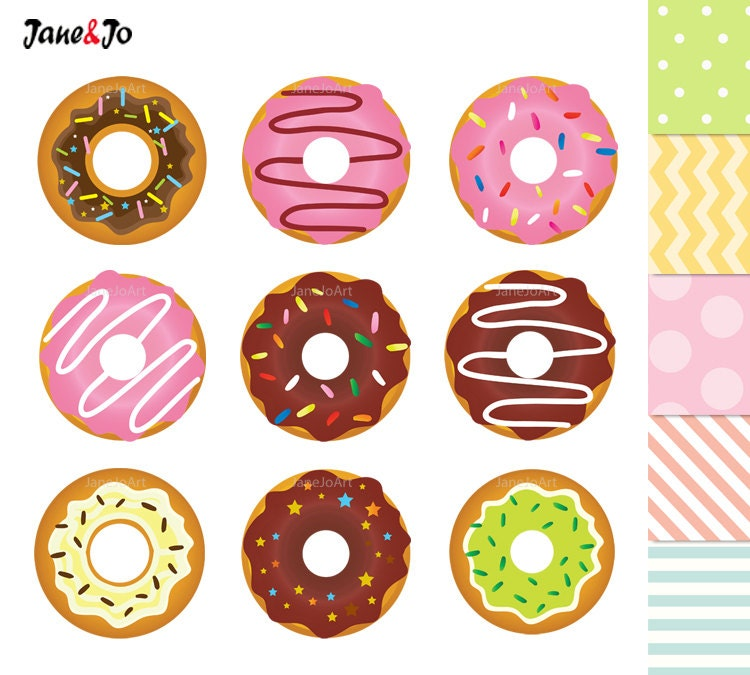 Cartoon Doughnut Factory: 50% OFF SALE Donuts Clipart Donuts Digital Clip Art Sweet