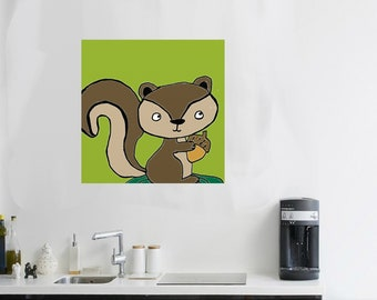 squirrel Art squirrel artwork squirrel painting squirrel Nursery squirrel gift squirrel canvas art squirrel critter squirrel animal art