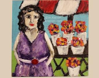 Fiona, Flower Lady, Farmer Market, Figure Painting, Original Art, Original Painting, Whimsy, Spring, Flower Cart, Home Decor, Wall Art, Gift